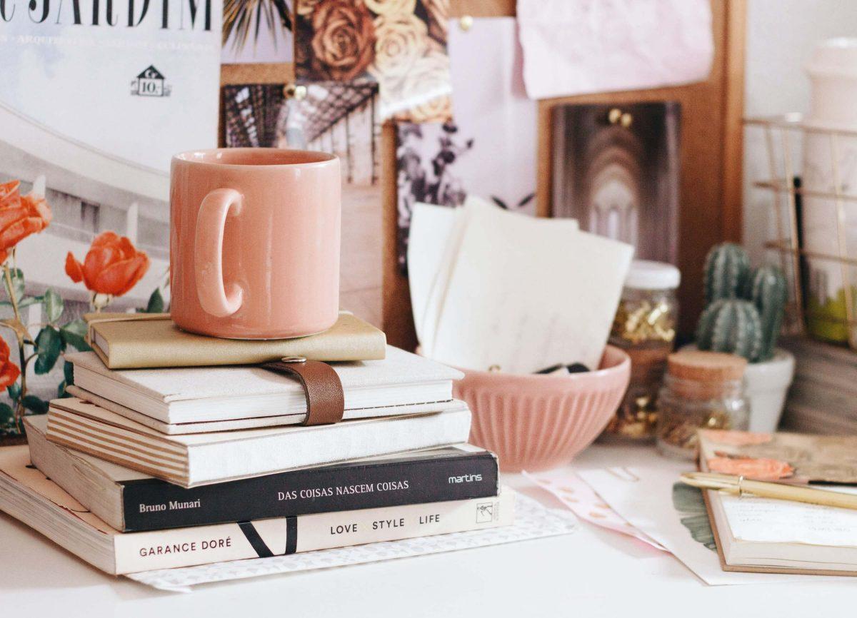 desk with mug and books