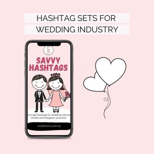 Wedding Instagram hashtag sets for wedding industry brands
